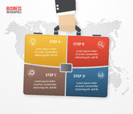 导航infographic与拿着袋子,公文包的商人 免版税图库摄影