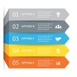 导航infographic的箭头,图图,图表介绍 与5个选择,零件,步,过程的企业概念 免版税库存图片