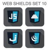 导航Java语言网发展盾标志的汇集:j 免版税库存图片