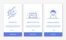 导航onboarding app屏幕和平的线的例证电子商务机动性apps的网象 免版税库存照片