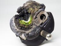 导致害处的残破的插座,力量,火,短小,电,电 库存照片