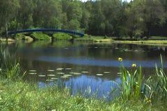 导致湖的一个小海岛的桥梁美丽的景色 HDR图片 库存照片