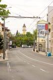 导致火车站的街道在布尔加斯,保加利亚 库存图片