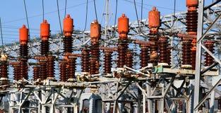 导致电的能源厂的电气系统 免版税图库摄影