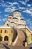 导致神奇的ima的寺庙的长的石楼梯 免版税库存照片