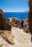 导致Lybian海的脚步 库存照片