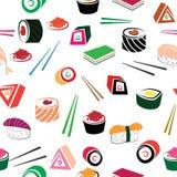 寿司亚洲食物无缝的集合 免版税库存图片