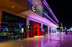寿司休息室在伦敦苏豪区普遍的购物和娱乐区在晚上, Sharm El谢赫,埃及摆正 免版税库存图片