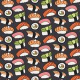 寿司剪影 与手拉的动画片日本食物象-与鱼和鲕梨的寿司的无缝的样式 向量 免版税图库摄影