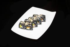 寿司卷被设置的黑人武士 免版税库存图片