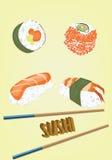 寿司卷集合的传染媒介 库存图片