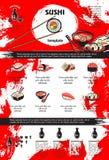 寿司和海鲜盘菜单模板设计 库存照片