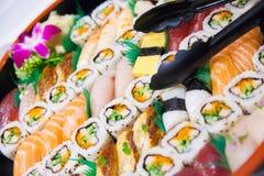 寿司和生鱼片在西部样式服务 库存照片