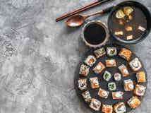 寿司持续的和大酱汤 图库摄影