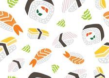 寿司无缝的样式 向量例证