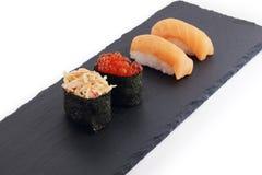 寿司是日本全国烹调盘  库存图片