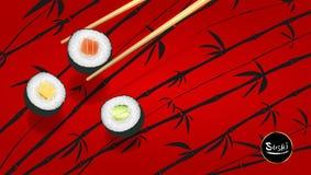 寿司海报或飞行物设计寺庙,传染媒介剪贴美术例证 免版税图库摄影