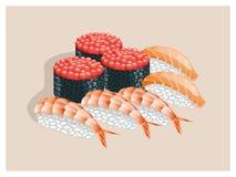 寿司用鱼子酱、三文鱼和虾 图库摄影