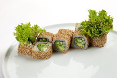 寿司美好的开胃卷在一块白色板材的 免版税库存照片