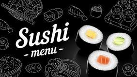 寿司菜单剪影盖子 传染媒介剪贴美术例证 免版税库存图片