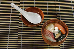 寿司菜单用鱼不同的品种的寿司汤  免版税库存图片
