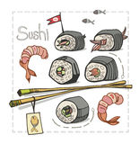 寿司设置与在白色背景的筷子 免版税库存图片