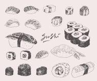 寿司设置了手拉的板刻葡萄酒传染媒介 皇族释放例证