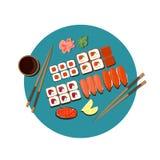 寿司集合的传染媒介图象 免版税库存照片