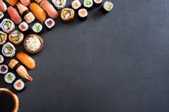 寿司食物和maki卷角落 免版税库存图片