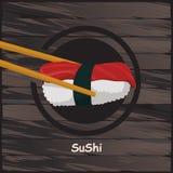 寿司,在木背景的日本食物 免版税图库摄影