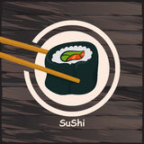 寿司,在木背景的日本食物 免版税库存图片
