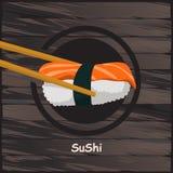 寿司,在木背景的日本食物 免版税库存照片