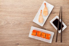 寿司maki和虾寿司 库存图片