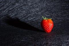 射出它的阴影的草莓隔绝在与黑纹理的背景中 免版税库存照片