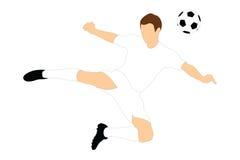 射击与他的题头的足球运动员一个球 免版税库存照片