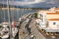射击从帆柱的顶端在希腊海岛群中的航行赛船会第16 Ellada秋天期间2016年在爱琴海,在Cyc 免版税库存照片