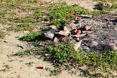 射击在狩猎营火附近的枪壳挖坑 图库摄影