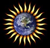射击我们的行星星期日启用的世界 免版税库存照片