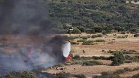 射击的直升机投掷的水在野生近的消防队员 股票视频