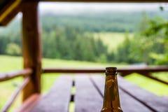 射击的空的啤酒瓶关闭在木桌上 免版税库存图片