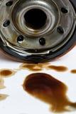 射击的老半新机油过滤器关闭 免版税库存照片