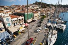 射击从帆柱的顶端在希腊海岛群中的航行赛船会第16 Ellada秋天期间2016年在爱琴海 图库摄影