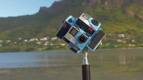 射击360度的六台GoPro照相机自然场面 影视素材