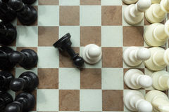 射击棋盘白色房子移动 商业领袖概念 选择聚焦 库存图片