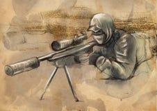 射击者(狙击手) -一个手拉的例证 免版税库存照片