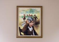 将在帆布绘画, Claremore,俄克拉何马的罗杰斯油 免版税库存照片