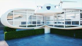 将来的房子 有妇女的未来派飞行汽车 超级现实4K动画 库存例证