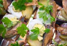 将鲜美的西鲱夹在中间 库存图片
