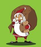 将他的淘气/好的名单仔细检查的圣诞老人。 图库摄影