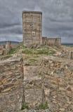 尊敬塔的看法从一个城垛的 库存图片